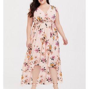 Torrid Blush Pink Floral Hi Lo Dress SIZE 5 NWT